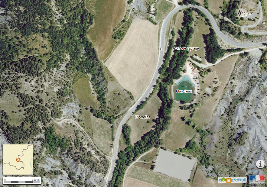 vue aérienne plan d'eau rosans ferme acagnarda bio
